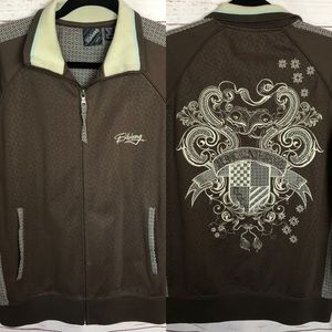 Billabong Brown Full Zip Embroidered Jacket Size M
